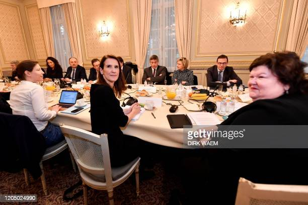 Belgian Prime Minister Sophie Wilmes and Minister of Health Social Affairs Asylum Policy and Migration Maggie De Block are pictured during a meeting...