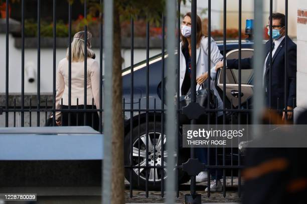 Belgian Prime Minister Sophie Wilmes arrives at a meeting with the King at the Royal Palace in Brussels, Monday 28 September 2020, regarding the...