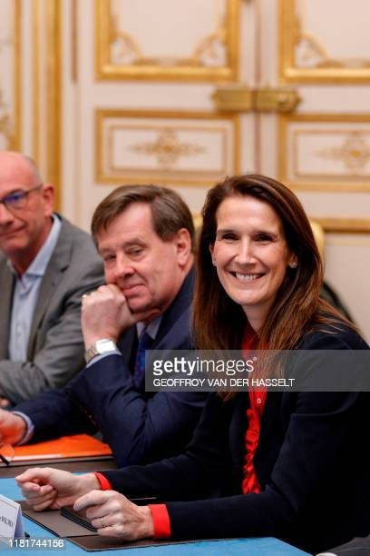 Belgian Prime Minister Sophie Wilmes poses prior to a meeting with French Prime Minister at the Hotel Matignon in Paris on November 11 2019