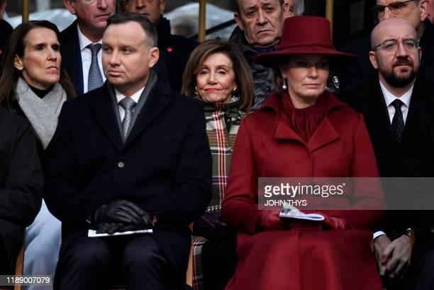 Belgian Prime Minister Sophie Wilmes, President Andrzej Duda of Poland, United States House of Representatives Nancy Pelosi Queen Mathilde of Belgium...