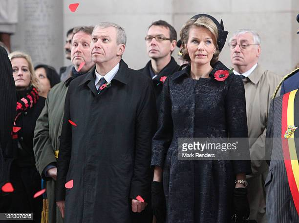 Belgian Prime Minister Yves Leterme and Princess Mathilde of Belgium attend the Last Post Ceremony at the Menen Gate on Armistice Day on November 11...