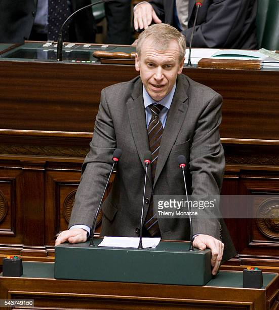 Belgian Prime Minister Yves Leterme of CD&V speeches during the Belgian federal chamber plenary session. Today is a crucial session as some Flemish...