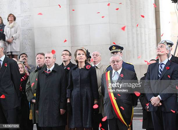 Belgian Prime Minister Yves Leterme Princess Mathilde of Belgium Gouvernor of West Flanders Paul Breyne and Flemish Minister President Kris Peeters...