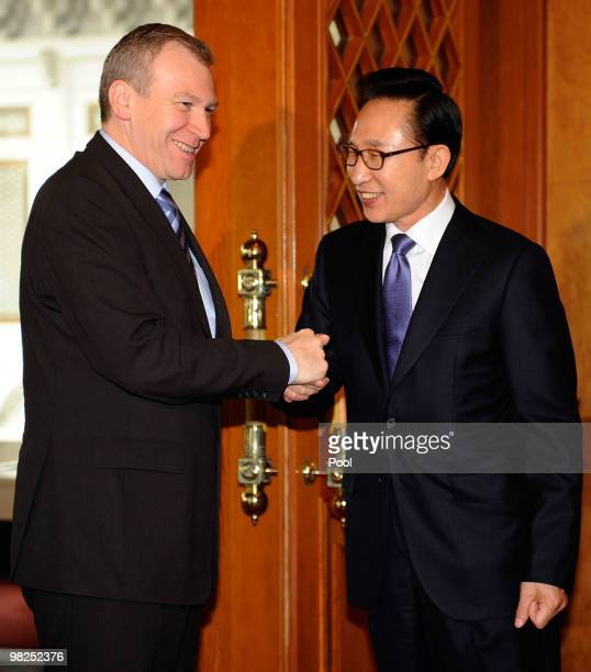 Belgian Prime Minister Yves Leterme shakes hands with South Korean President Lee MyungBak before their summit at presidential house on April 5 2010...
