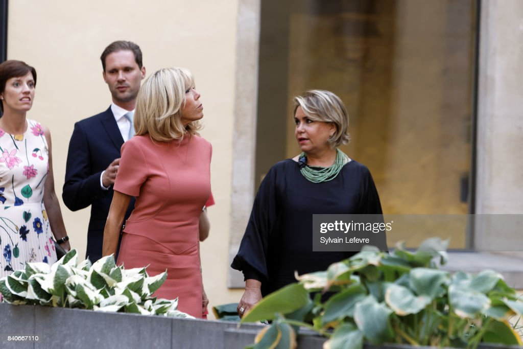 Belgian Prime Minister's partner Amelie Derbaudrenghien, Luxembourg Prime Minister's husband Gauthier Destenay, Brigitte Macron-Trogneux, France's first lady, Grand Duchess Maria Teresa of Luxembourg visit Luxembourg's Neumunster Abbey during a one day state visit on August 29, 2017 in Luxembourg, Luxembourg.