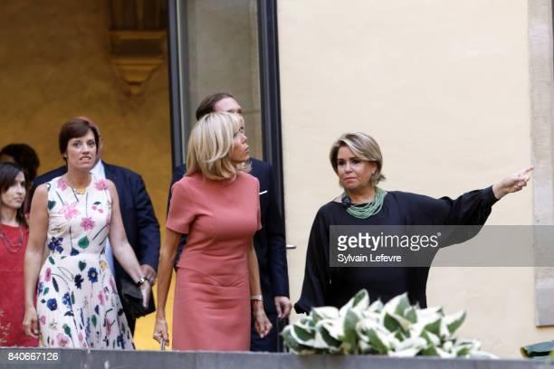 Belgian Prime Minister's partner Amelie Derbaudrenghien Luxembourg Prime Minister's husband Gauthier Destenay Brigitte MacronTrogneux France's first...