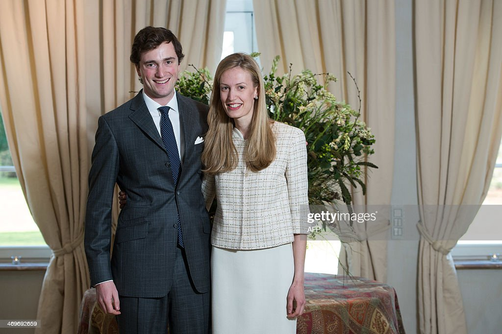 Belgian Prince Amedeo (grandson of King Albert II) poses with his fiancee Elisabetta Rosboch von Wolkenstein on the day of their engagement, in the Schonenberg royal residence, home of Amedeo's parents, in Brussels, on February 15, 2014. 27 years old Prince Amedeo and Italian journalist Elisabetta Rosboch von Wolkenstein live in New-York.