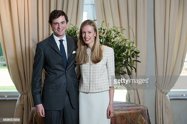 Belgian Prince Amedeo poses with his fiancee Elisabetta Rosboch von Wolkenstein on the day of their engagement, in the Schonenberg royal residence,...