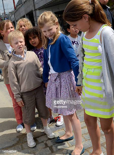 Belgian Prince Gabriel and Princess Elisabeth children of Prince Philip and Princess Mathilde attend the Art@school event on June 1 2012 in Brussels...