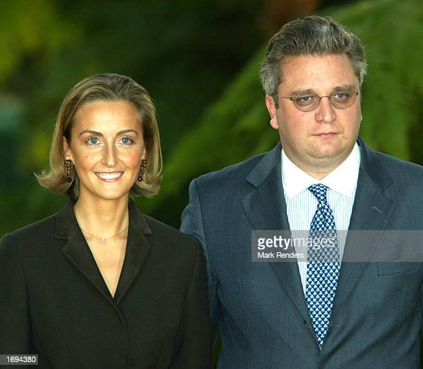 Belgian Prince Laurent youngest son of King Albert II and his finacee Claire Coombs announce their engagement during a news conference at the Laeken...