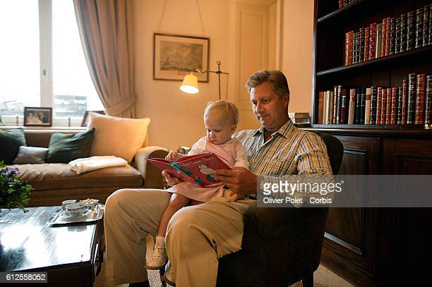 Belgian Prince Philippe in his private apartment with his daughter Princess Elizabeth in the Laeken Castle