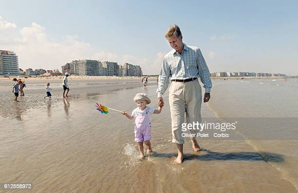 Belgian Prince Philippe with his daughter Princess Elizabeth on the sea front at Duinbergen   Location Duinbergen Belgium