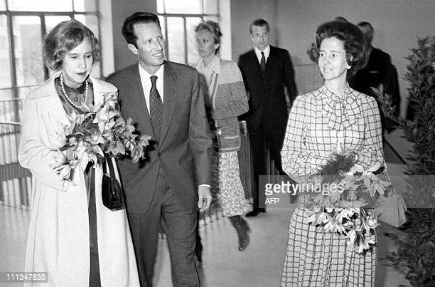 Belgian Princess MarieJose with King Baudouin and Queen Fabiola followed by Prince Albert and Princess Paola are seen prior to open the King Albert...