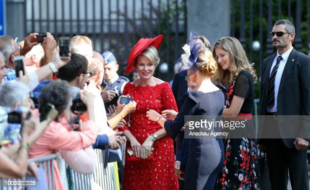 Belgian Queen Mathilde attends the 'Te Deum' mass ceremony at the Cathedral of St Michael and St Gudula on the occasion of the 187th anniversary of...