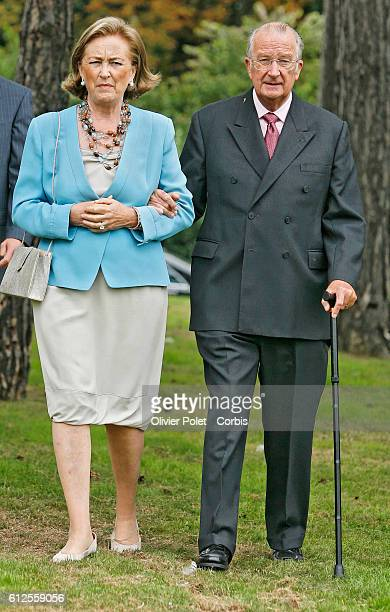 Belgian Queen Paola and King Albert II arrive at the Queen's 70th birthday party at Laeken Royal Palace in Brussels