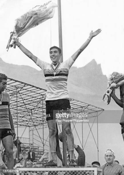 Belgian racing cyclist Eddy Merckx celebrates becoming world amateur champion at Sallanches France 6th September 1964