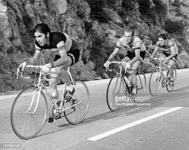 Belgian racing cyclist Eddy Merckx leading the Ghisallo climb during the Giro di Lombardia Como Italy 10th October 1970
