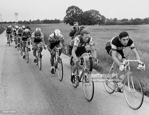 Belgian racing cyclist Eddy Merckx leads the pack during the 5th stage of the Tour de France between Rouen and Amiens 1st July 1970 Merckx went on to...