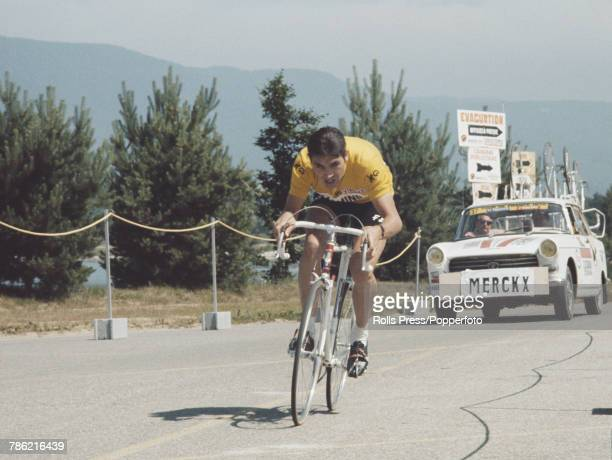 Belgian racing cyclist Eddy Merckx pictured in action during competition for the FaeminoFaema cycling team during an individual time trial stage of...
