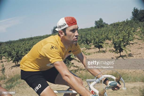 Belgian racing cyclist Eddy Merckx pictured in action during competition for the FaeminoFaema cycling team during a stage of the 1970 Tour de France...