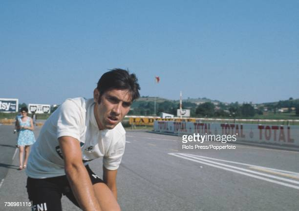 Belgian racing cyclist Eddy Merckx pictured wearing the Molteni team shirt at the end of the 7th stage of the 1971 Tour de France at Nevers in France...