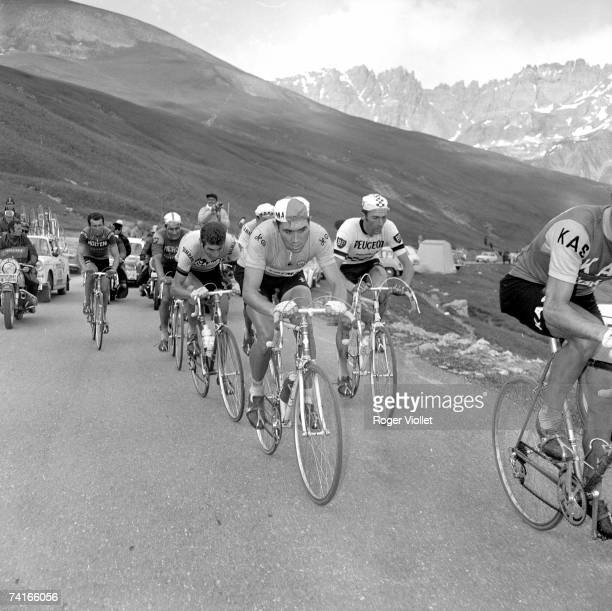 Belgian racing cyclist Eddy Merckx with on his left Roger Pingeon and in the background behind on the center Raymond Poulidor during the Mountain...