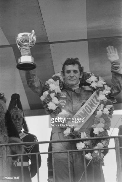 Belgian racing driver Jacky Ickx celebrating after winning the Race Of Champions, non-championship Formula One race held at Brands Hatch, UK, 17th...