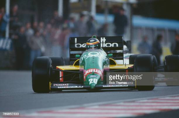 Belgian racing driver Thierry Boutsen drives the Benetton Formula Ltd Benetton B187 Ford Cosworth GBA 15 V6t in the 1987 Belgian Grand Prix at...