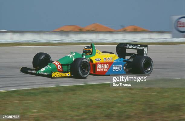 Belgian racing driver Thierry Boutsen drives the Benetton Formula Ltd Benetton B188 Ford Cosworth DFR 35 V8 to finish in 7th place in the 1988...