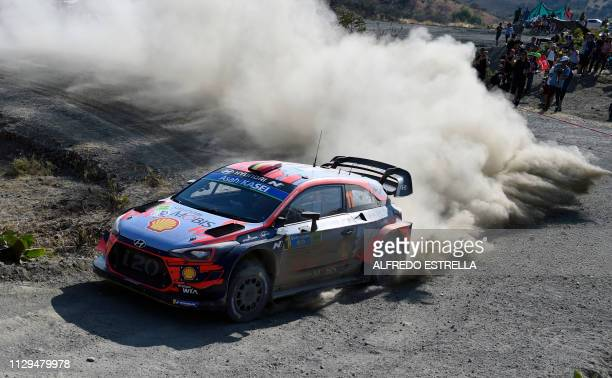 Belgian rally driver Thierry Neuville and codriver Nicolas Gilsoul of Hyundai Shell Mobis WRT compete during the second stage of the FIA World Rally...