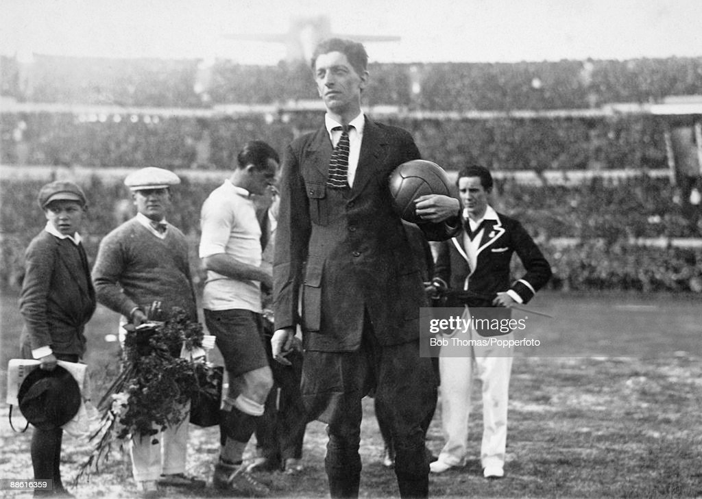Belgian referee Jean Langenus holding the match ball before the kick-off of the first FIFA World Cup Final, between Uruguay and Argentina at the Estadio Centenario in Montevideo, 30th July 1930. Uruguay won 4-2.