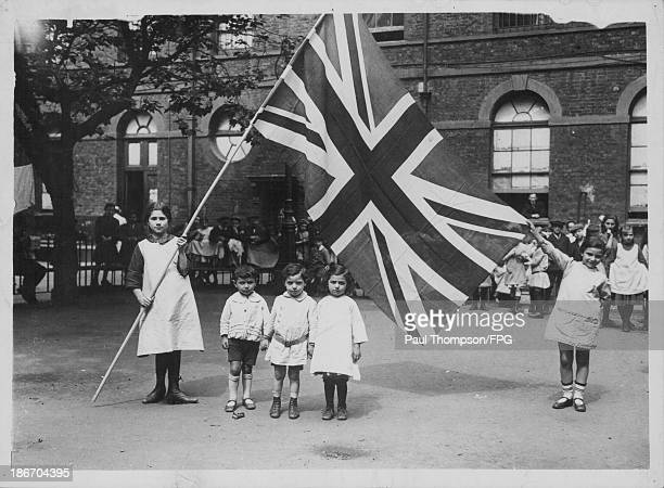 Belgian refugees in England during World War One celebrate Independence Day London circa 19141918