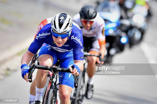 Belgian Remco Evenepoel of Deceuninck - Quick-Step pictured in action during the fourth stage of the Baloise Belgium Tour cycling race 1 km from...