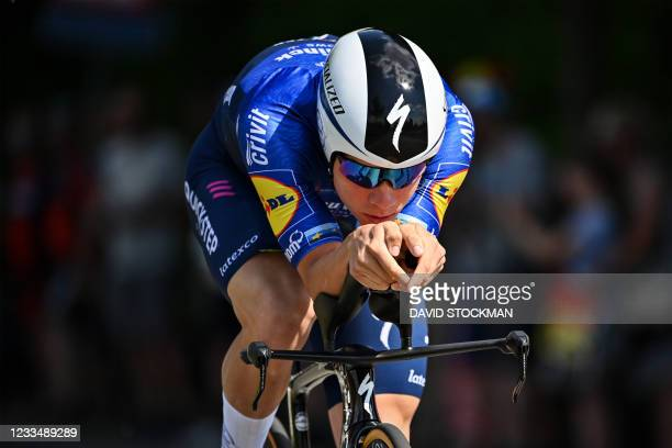 Belgian Remco Evenepoel of Deceuninck - Quick-Step pictured in action during the men's elite individual time trial race of 37,6 km at the Belgian...