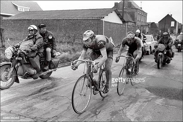 Belgian rider Eddy Merckx is closely followed by his compatriot Roger De Vlaeminck on April 15 1973 during the 71st race between ParisRoubaix