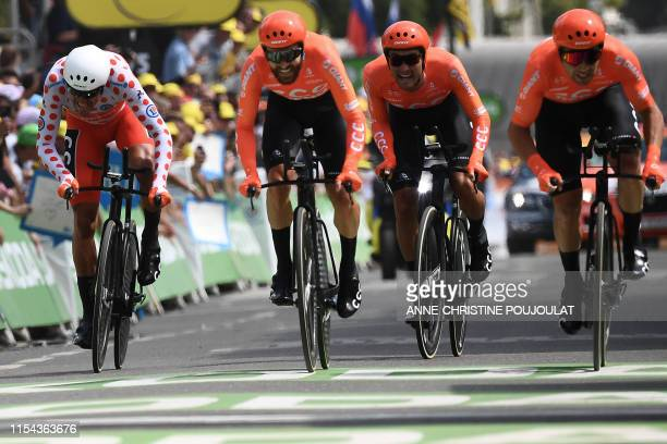 Belgian rider Greg Van Avermaet and teammates of Poland's CCC Team cycling team sprint before the finish line in the second stage of the 106th...