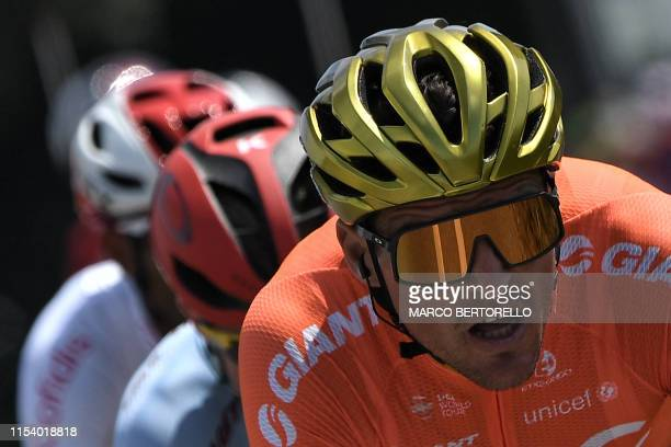 Belgian rider Greg Van Avermaet leads a breakaway in the first stage of the 106th edition of the Tour de France cycling race between Brussels and...