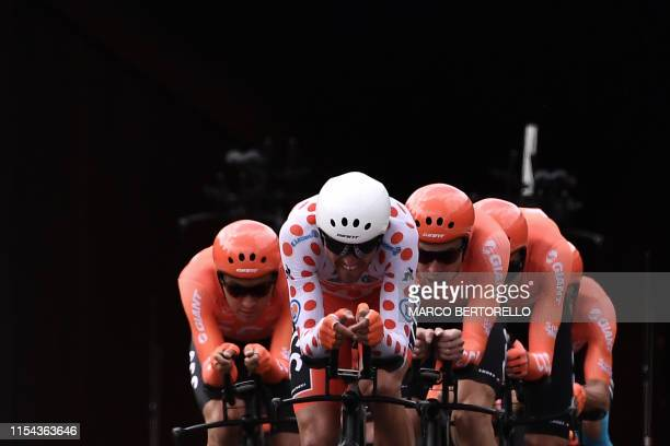 Belgian rider Greg Van Avermaet wearing the best climber's polka dot jersey and teammates of Poland's CCC Team cycling team compete in the second...