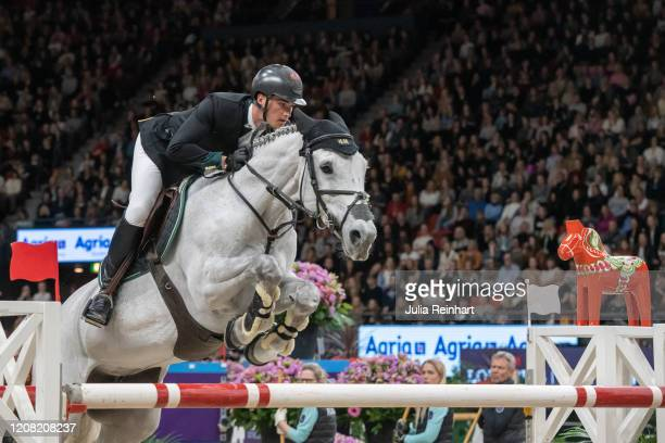 Belgian rider Olivier Philippaerts on HM Legend of Love competes in the FEI World Cup Jumping event during the Gothenburg Horse Show at Scandinavium...