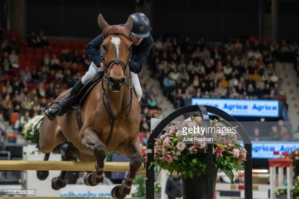 Belgian rider Wilm Vermeir on DM Jacqmotte competes in the FEI World Cup Jumping event during the Gothenburg Horse Show at Scandinavium Arena on...