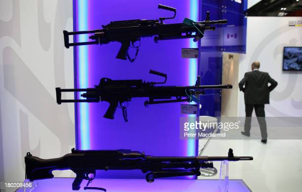Belgian rifles are displayed at the Defence and Security Exhibition on September 10 2013 in London England ExCeL London is hosting the exhibition...