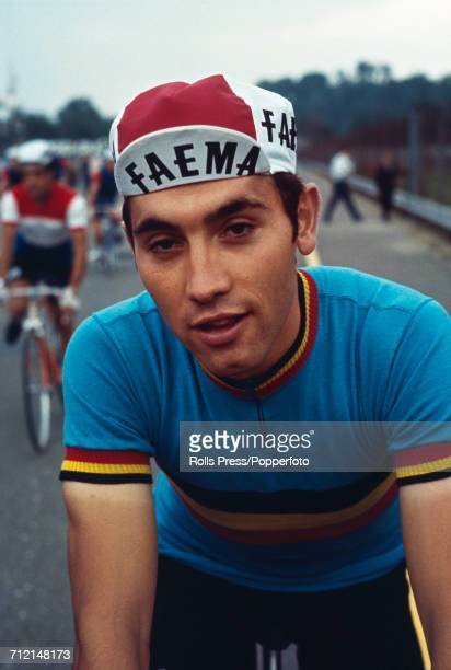 Belgian road racing cyclist Eddy Merckx pictured during competition to finish in 8th place in the 1968 UCI Road World Championships at Imola in Italy...