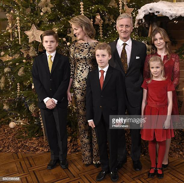 BRUSSELS BELGIUM DECEMBER Belgian Royal Family attends the traditional Christmas concert at Royal Palace of Brussels Queen Mathilde King Philippe...