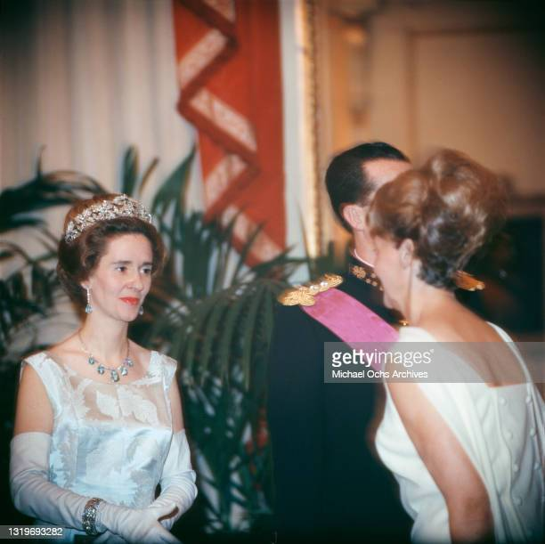 Belgian Royal Queen Fabiola of Belgium wearing the Spanish Wedding Gift Tiara, with sapphire drop earrings and a necklace with sapphire pendants,...