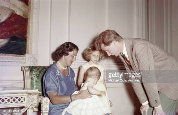 Belgian Royals Lilian, Princess of Rethy with Leopold III of Belgium , and their daughters, Princess Marie-Esmeralda of Belgium and Princess...