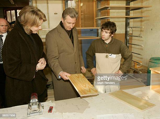 Belgian Royals Prince Philippe and Princess Mathilde visit the APIDES factory where they spent time at an enterprise scheme which helps adults learn...