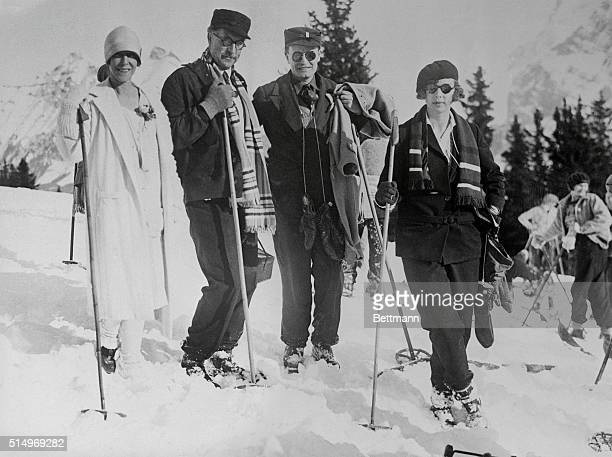 Belgian royalty vacationing in Swiss Alps Murren Switzerland Their Majesties the rulers of Belgium pictured a hike over the snowcovered alps Left to...
