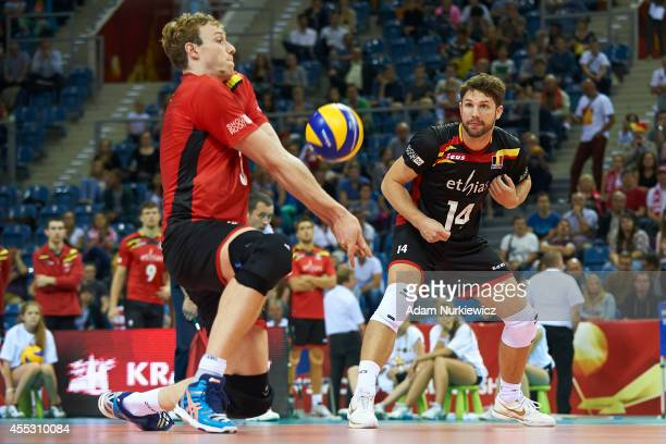 Belgian Sam Deroo receives the ball during the FIVB World Championships match between Belgium and Puerto Rico at Cracow Arena on September 2, 2014 in...