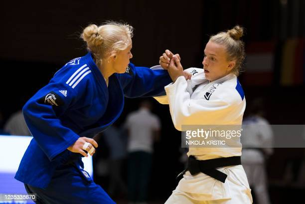 Belgian Selina Delen pictured in action in a fight of the -63kg category at the European Judo Open in Sarajevo, Bosnia and Herzegovina, Saturday 18...