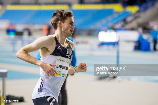 Belgian Simon Debognies pictured in action during the IFAM Indoor, IAAF Indoor Tour Bronze Athletics Meeting, Saturday 13 February 2021, in Gent....